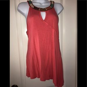 Coral beaded Top - Size Medium